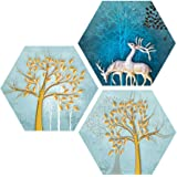 Saumic Craft Set of 3 Hexagon Beautiful Reindeer and Trees Scenery UV Textured Self Adhesive Painting with A Special Present