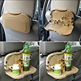 #10: RIDAR Car Backseat Foldable Food Tray 1pc with Bottle Cup Holder / Travel Dining Tray 1pc Beige for Hyundai Verna Fluidic
