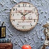 Kurtzy Orologio da Parete in Legno 30 cm- Orologio Vintage Meccanismo Silenzioso Numeri - Orologio da Parete Rotondo in Legno Decorazione Shabby Chic-Orologio Silenzioso a Quarzo