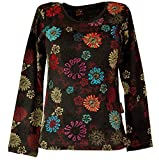 Guru-Shop Besticktes Langarmshirt Hippie Chic Retro, Damen, Braun, Baumwolle, Size:XL (42), Pullover, Longsleeves & Sweatshirts Alternative Bekleidung