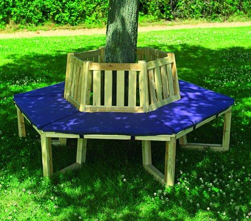 Promadino Baumbank 360° mit Sitzauflagen blau