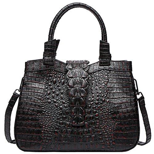 Krokodil-leder Handtasche (KAXIDY Krokodil Leder Damen Handtasche Schultertasche Tasche Umhängetasche Shopper Henkeltasche (Schwarz-B))