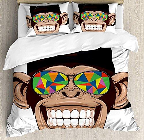 Cartoon 3-teiliges Bettwäscheset Bettbezug-Set, lustiger Hipster-AFFE mit bunter Sonnenbrille und Hut Rapper Hippie Ape Art, 3-TLG. Tröster- / Qulitbezug-Set mit 2 Kissenbezügen, Braun, Schwarz, Weiß