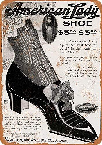 KODY HYDE Metall Poster - Hamilton Brown Shoe - Vintage Blechschilder Retro Dekoration Schild Aluminium Wandkunstplakat Zum Bar Cafe Büro Pub Wohnzimmer Garage