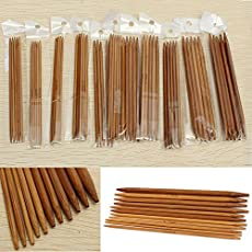 [2.0mm-5.0mm] 55Pcs 11sizes 5'' 13cm Smooth Handle Double Pointed Carbonized Bamboo Knitting Needles Set For DIY Weave Knitting