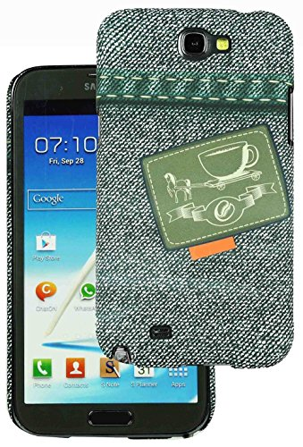 Heartly Jeans Style Printed Design High Quality Hard Bumper Back Case Cover For Samsung Galaxy Note 2 II N7100 - Tea Pocket  available at amazon for Rs.149