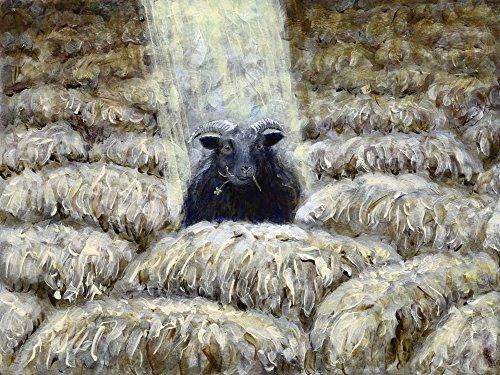 Artland Qualitätsbilder I Poster Kunstdruck Bilder 80 x 60 cm Tiere Haustiere Schaf Malerei Braun A8SL Schwarzes Schaf