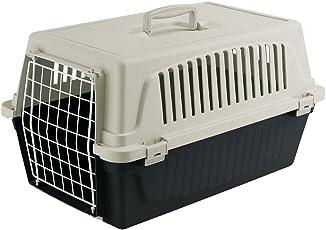 Ferplast Transportbox Atlas 20 für Hunde und Katzen bis zu 8 kg – Stabile Tragebox in Schwarz mit Weiß - inkl. ergonomischem Griff – Maße: 58 x 37 x 32 cm