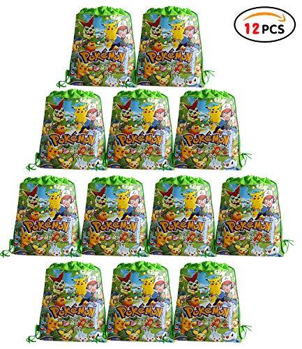 Qemsele Partytüten Mitgebsel Kindergeburtstag Gastgeschenke Tüten Tasche 12 Stück, Kordelzug Rucksack Bag Turnbeutel für Kinder Mädchen Frauen Kindergeburtstag, Geburtstagsfeier (Pokemon)