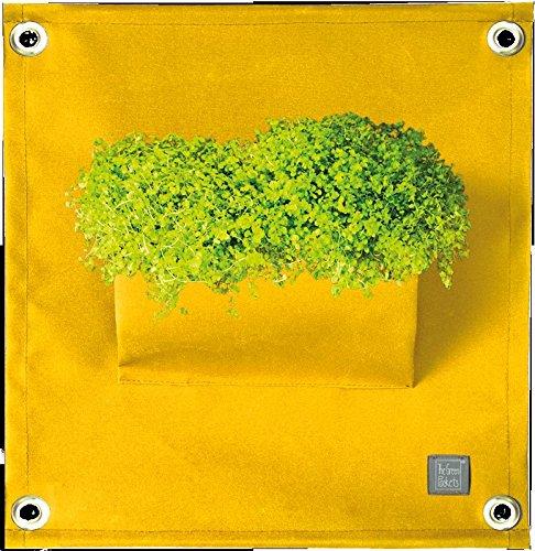THE GREEN POCKETS AMMA1_A01 Pochette Florale Acrylique, Jaune, 45 x 50 cm