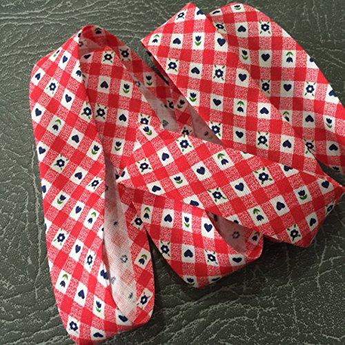 1754colore rosso con motivi alta qualità Bias Binding 25mm largo 100% cotone con Nice Soft Feel-venduto al metro
