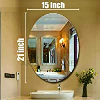 Creative Arts n Frames 15 x 21 inch Size Oval Shape Wall Mirror for Bathroom, Bedroom, Drawing Room and Wash Basin