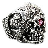 Fly Style® Herren Totenkopf-Ring Skull Edelstahl Biker Rocker Piraten Schmuck (18.4-24.9 mm) silber risst042, Ring Grösse:22.0 mm