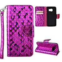 Galaxy S7 Edge Wallet Case, Samsung Galaxy S7 Edge Cover Case, Rosa Schleife Sparkle Bling Glitter PU Leather Butterfly Painting Pattern Embossed Floral Flip Folio Magnetic Snap Leather Phone Case Protective Case Cover Shell Skin for Samsung Galaxy S7 Edg