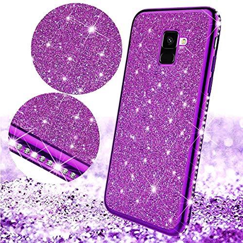 Uposao Kompatibel mit Samsung Galaxy A8 2018 Handyhülle Glänzend Glitzer Kristall Strass Diamant Handytasche Überzug Silikon Schutzhülle Tasche Durchsichtige Hülle Backcover Case,Lila