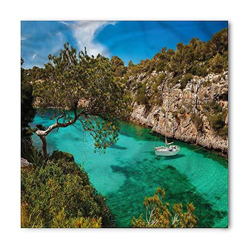 Nature Bandana, Yacht on Sea Scenic View, Unisex Head and Neck Tie, Printed Unisex Bandana Head and Neck Tie Scarf Headband, Multicolor S 60x60cm (Print Side Tie Pant)
