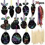 HOWAF 36 Scratch Art para niños, Huevos de Pascua Manualidades para niños Decorar, Creativo Juguete de Pascua para niños, niñas, Fiesta de Regalo de Pascua, con lápiz de Madera, Cinta para Colgar
