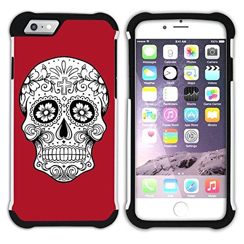 Graphic4You Mexikanische Zuckerschädel (Orange) Hart + Weiche Kratzfeste Hülle Case Schale Tasche Schutzhülle für Apple iPhone 6 / 6S Rot