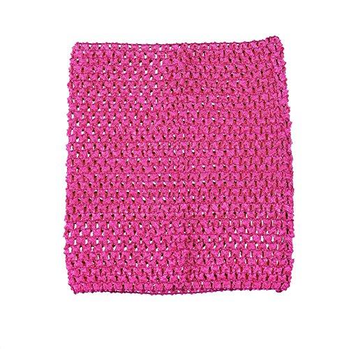 Qinlee 9 Zoll Kinder Elastische Crochet Tube BH Tutu Rock Brust Wrap Kopf Stirnband DIY BH Boob Tops Weste für Mädchen (Rosa)