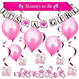 Babyparty Deko Es Ist Ein Mädchen Rosa Baby Shower Party Dekorations Set Pink Party Bündel Geburt Taufe Babyshower It's a Girl Banner Girlande Ballons Mommy to be Schärpe Elefantenspiralen Schnuller