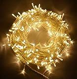 30 Meter Warmweiß 300 LED im Freien u. Innenbatterie-feenhafte Lichter w / Remote u. Timer, wasserdicht (8 Modi, 4 x AA Batterien, Dimmable, Durchsichtiges Kabel)