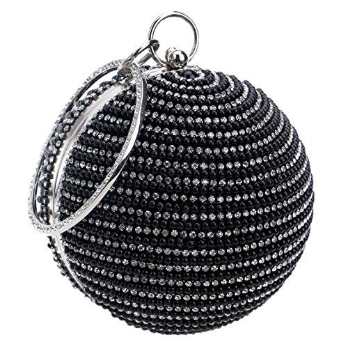Santimon Pochettes Delle Donne Beads Perle Strass Dura Cassa Rotonda Forma Borsa Con Staccabile Tracolla nero