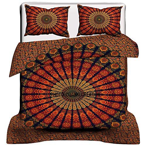 Indischer Mandala-Bettbezug, Queen Size Decke, Quilt, Bettwäsche, Tagesdecke, Bettdecke, Bohemian Traditioneller indischer Mandala-Bettbezug, indischer Medallion Baumwolle (Bettwäsche-daunendecke-abdeckung)