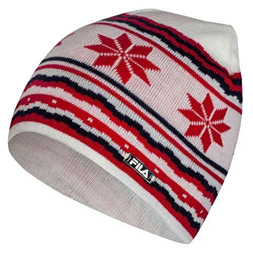 Fila Beanie Hat, Unisex/Herren/Damen, Gestreift, One size, Schneeflocke Weihnachten Gr. One size, rot Fila Mütze