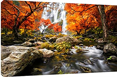 "MOOL 32 x 22-Inch Large ""Waterfall in Autumn"" Hand Stretched on a Wooden Frame with Giclee Waterproof Varnish Finish Ready to Hang Canvas Wall Art Print, Multi-Colour"