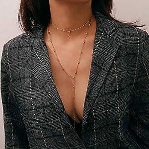 XUHAHAXL Halskette/Schmuck, Einfache Persönlichkeit, Mond Beschlagene Multi-Etagen-Anzug Kombination Mit Fransen Anhänger Halskette