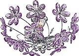 Globo Deckenleuchte chrom, Acrylblüten lila exklusiv 3 x E14, 40 W, 230 V, D: 42 cm, H: 19 cm 5142