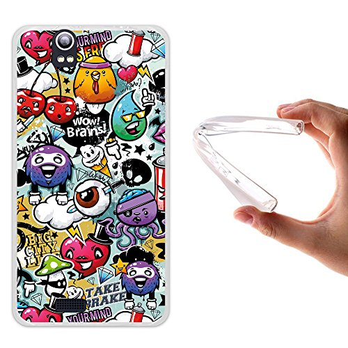 Funda Kazam Trooper 450, WoowCase [ Kazam Trooper 450 ] Funda Silicona Gel Flexible Grafiti de Colores Divertido, Carcasa Case TPU Silicona - Transparente