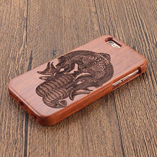 Naturholz Hülle für iPhone 7 - Forepin® Echt Rosenholz Schutzhülle Elegantes Design Bumper Case Cover mit Kompass Muster Ihr Apple iPhone 7 (4.7 Zoll) Smartphone Elefant Nase