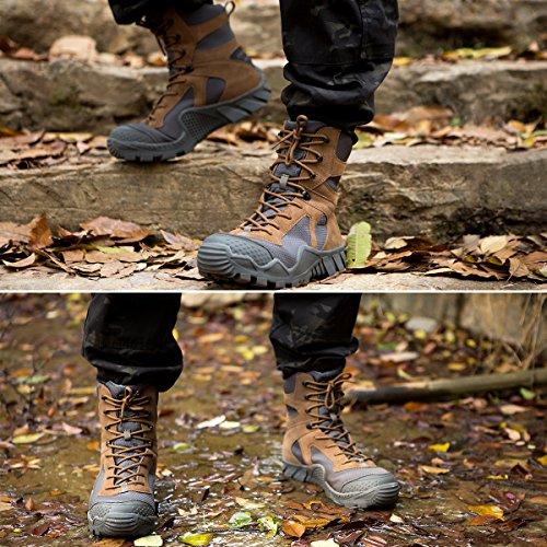 Free Soldier Herren Military Top Sneaker Schuhe Tactical Wandern Stiefel Schnürschuh Arbeit Combat All Terrain Verschleißfest Stiefel 3 Farben Wolf-Braun