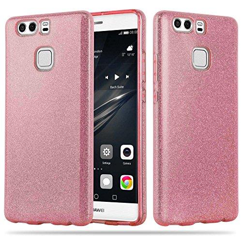 Cadorabo Hülle für Huawei P9 Plus - Hülle in Sternenstaub PINK - TPU Silikon & Hardcase Handyhülle im Glitzer Design - Hard Case TPU Silikon Schutzhülle