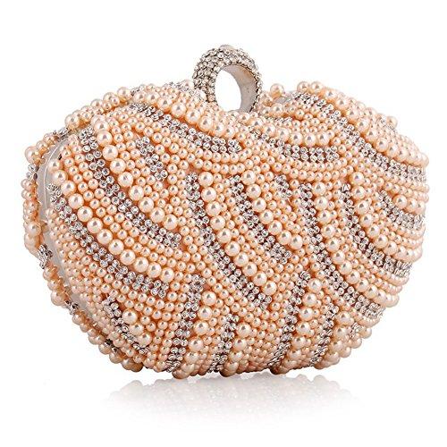 ERGEOB® Donna Clutch sacchetto di sera borsetta fatto a mano Clutch perla diamante Anello fibbia sacchetto di sera colore champagne
