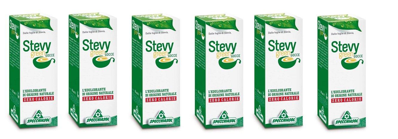 SPECCHIASOL - STEVY GREEN GOCCE 6 CONFEZIONI DA 30 ML zero calorie, dolcificante naturale, ottimo sa