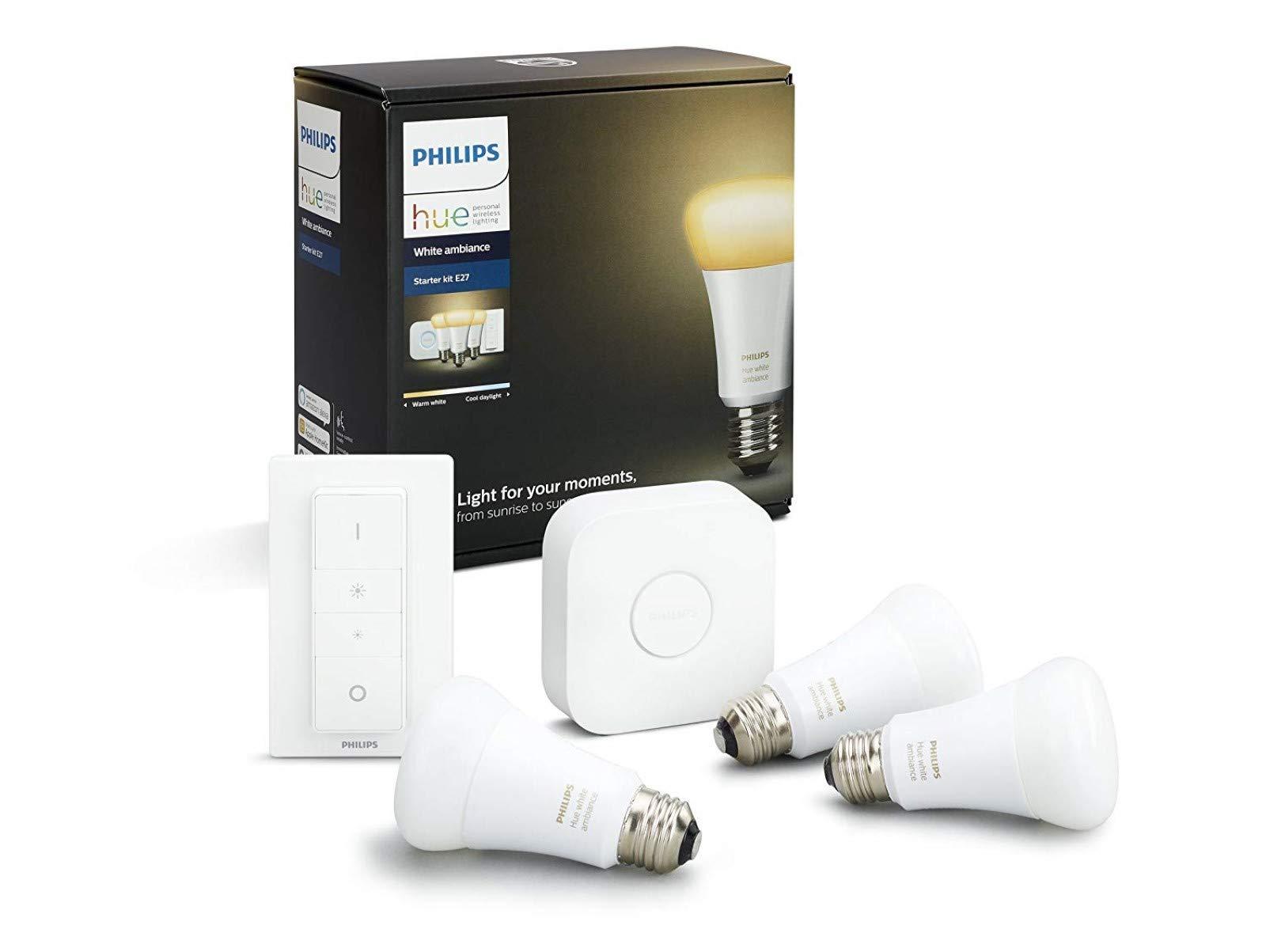 Philips Hue White Ambiance E27 LED Lampe Starter Set, drei Lampen inkl. Bridge und Dimmschalter, alle Weißschattierungen, steuerbar via App, kompatibel mit Amazon Alexa (Echo, Echo Dot), 8718696728925