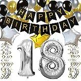 KUNGYO Classy 18. Geburtstag Party Dekorationen Satz- Schwarz Happy Birthday Banner ,Silber 18 Mylar Folienballon, Star & Latex Ballon,Hängende Wirbel,Perfekt Alles Gute Zum Geburtstag Zubehör Für 18 Jahre Alt.