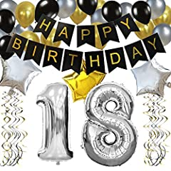Idea Regalo - KUNGYO 18 Anni Buon Compleanno Festa Decorazioni Kit - Nero Striscione di Happy Birthday, Pallone 18 in Argento, Stelle Palloncini , Lattice Ballon, Turbinii Appesi