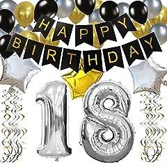 Idea Regalo - KUNGYO 18 Buon Compleanno Festa Decorazioni Kit – Nero Striscione di Happy Birthday, 100CM Grande Pallone 18 in Argento, Stelle Palloncini , lattice Ballon, Turbinii Appesi,Rifornimenti Perfetti per Feste di 18 Anni