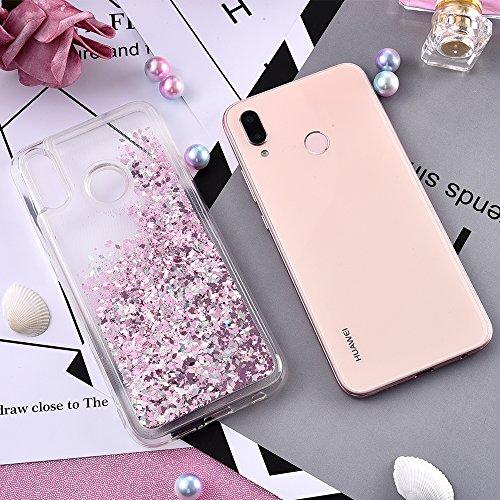 wlooo Cover Huawei P20 Lite, Cover p20 Lite, Huawei p20 Lite Cover, Glitter Custodia Bling Liquido TPU Silicone Cover Protettivo Morbido Brillantini Trasparente Quicksand Case (Oro Rosa)