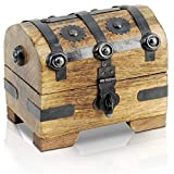 Brynnberg - Caja de Madera Cofre del Tesoro Pirata de Estilo Vintage, Hecha a Mano, Diseño Retro 11x9x8cm