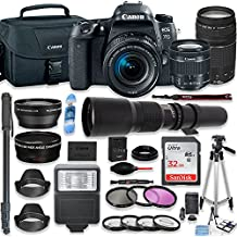 Canon EOS 77D DSLR Camera With 18-55mm Lens, 75-300mm Lens & 500mm Preset Lens + Deluxe Accessory Bundle Including Canon Case, 32GB Memory, Monopod, Auxiliary Lenses & More