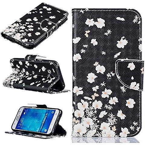 Cozy Hut Custodia Samsung J5, Galaxy J5 Cover, Samsung Galaxy J5 Flip Cover, Disegno di Stampa Disegno della Farfalla di stile del Libro Portafoglio Custodia in PU Cuoio, Elegant Flip Protettivo Wallet Caso Copertina con Funzione di Supporto per Samsung Galaxy J5 - piccoli fiori bianchi
