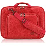 15 Inch MacBook Pro CaseCrown Alligator Messenger Laptop Case with Memory Foam (Red)