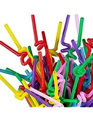 """TININNA 1 paquet Pailles Flexibles Fluo Respectueux De Lenvironnement Flexible """"Spirale"""" En Plastique Bandé Jetables Boire Pailles (couleurs assorties)"""
