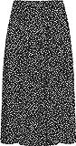 WearAll - Übergröße Damen Bedruckt Rock Mit Gummizug In Der Taille - Schwarz Weiße Blume - 44-46