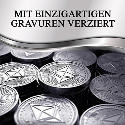 Physische Ethereum Münze als Schlüsselanhänger mit echtem Silber überzogen. Wahres Sammlerstück mit Schlüsselring. Ein Muss für jeden Bitcoin-Fan + GRATIS E-Book gegen Cyber-Attacken - 4