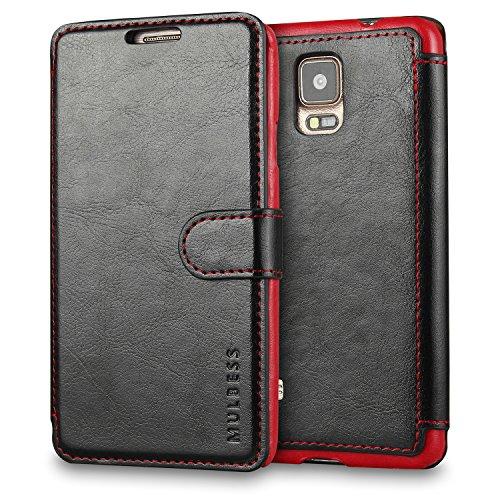 Mulbess Handyhülle für Samsung Galaxy Note 4 Hülle Leder, Layered Dandy Leder Flip Tasche für Samsung Galaxy Note 4 SchutzTasche Cover Etui, Schwarz